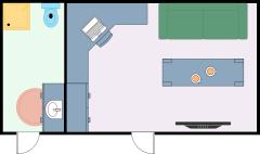 带浴室的小型家庭办公室